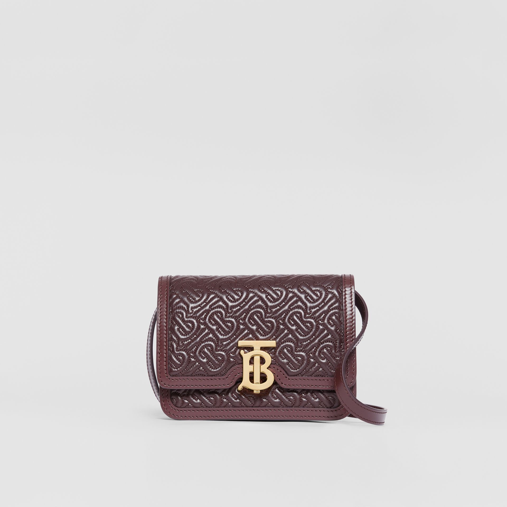 Mini Quilted Monogram Lambskin TB Bag in Dark Burgundy - Women | Burberry - gallery image 0