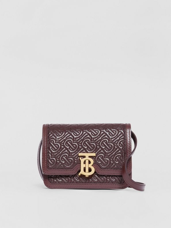 Mini Quilted Monogram Lambskin TB Bag in Dark Burgundy