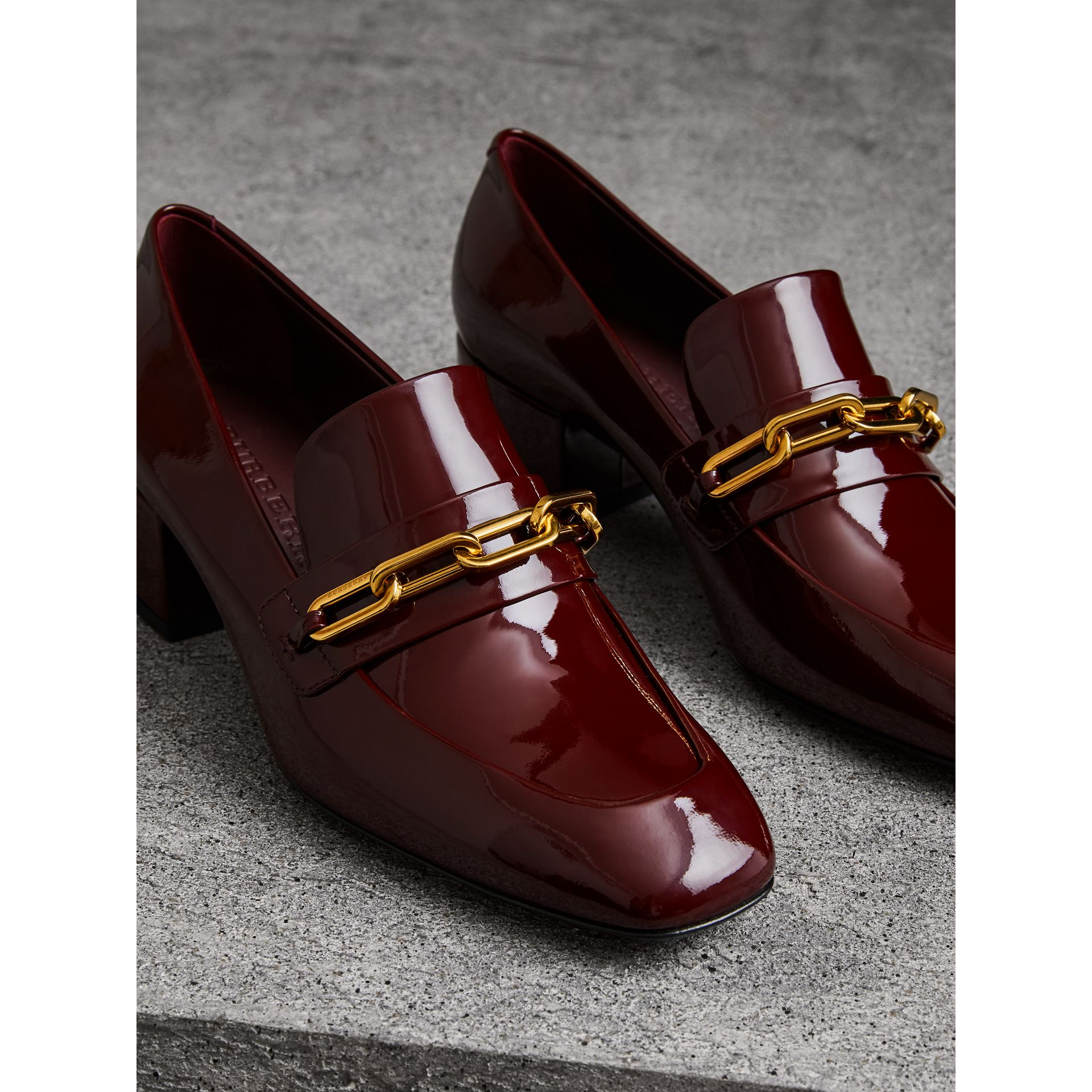 Link Detail Patent Leather Block-heel Loafers in Burgundy Red - Women | Burberry Canada - gallery image 4