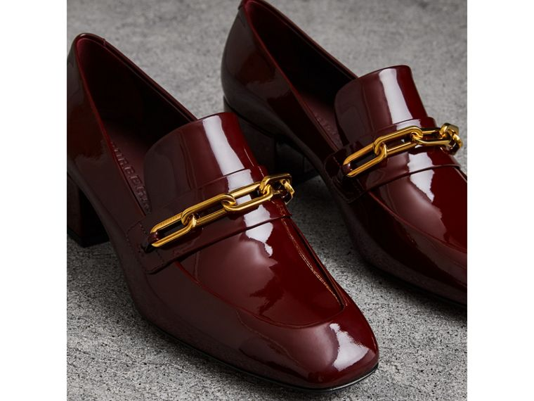 Link Detail Patent Leather Block-heel Loafers in Burgundy Red - Women | Burberry - cell image 4