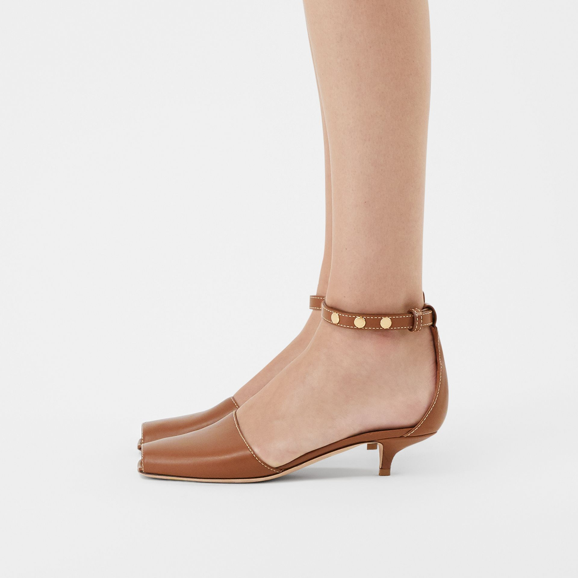 Triple Stud Leather Kitten-heel Sandals in Tan - Women | Burberry - gallery image 2