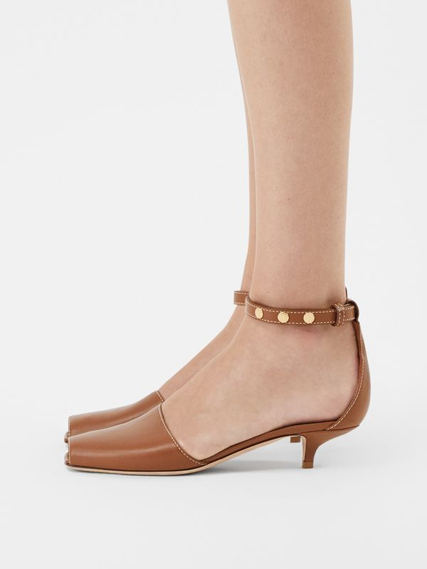 Triple Stud Leather Kitten-heel Sandals in Tan - Women | Burberry - cell image 2