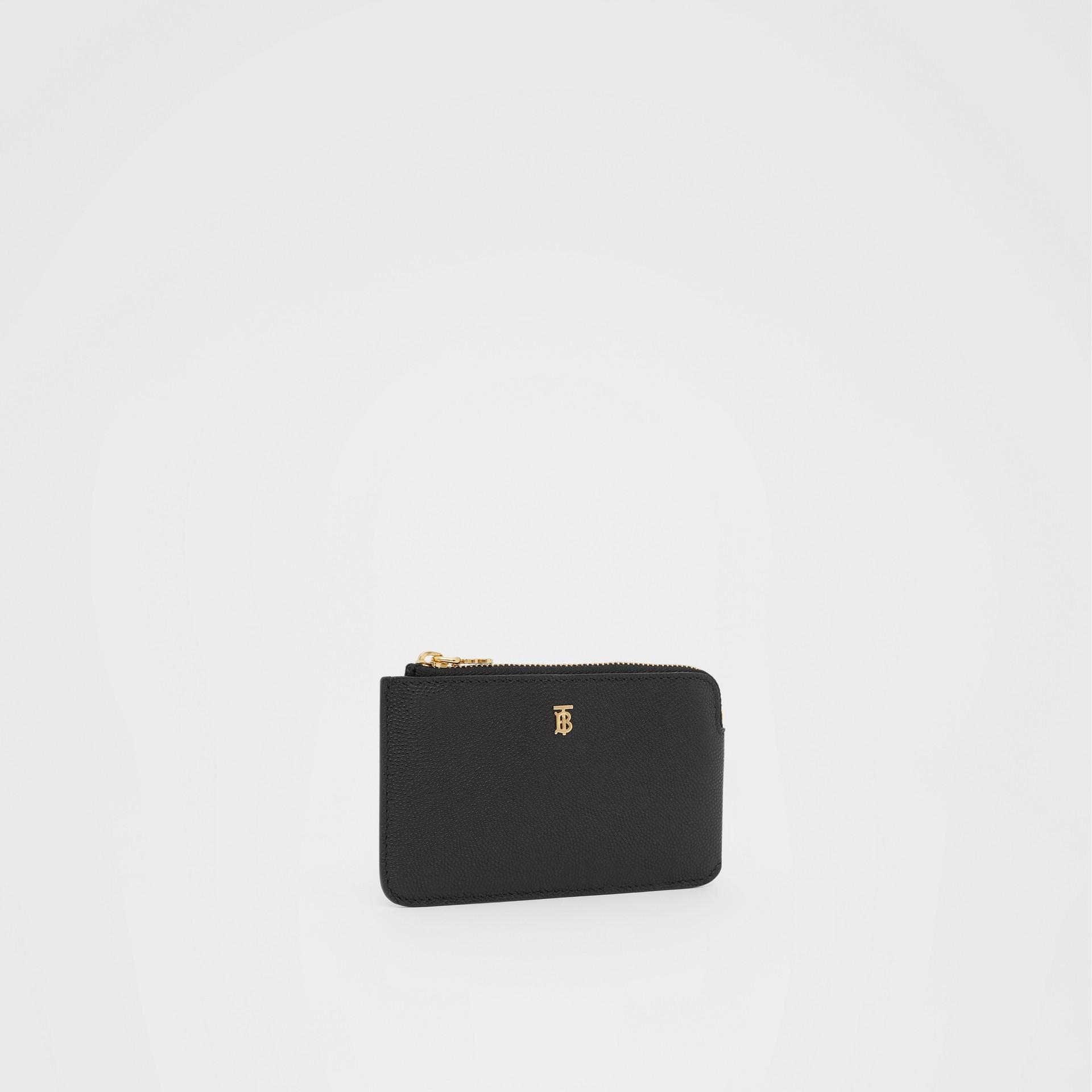Monogram Motif Grainy Leather Zip Coin Case in Black - Women | Burberry - gallery image 3