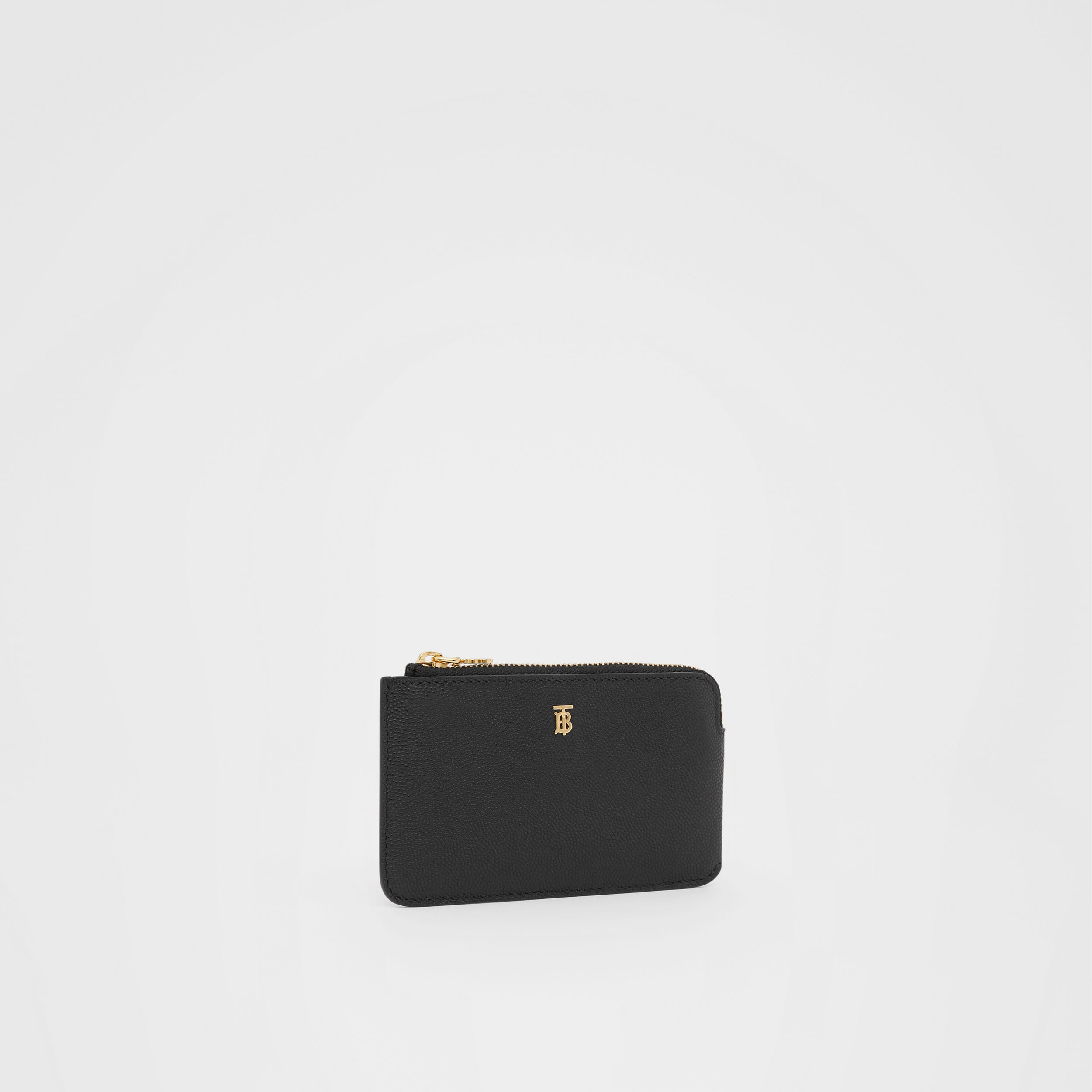Monogram Motif Grainy Leather Zip Coin Case in Black - Women | Burberry - 4
