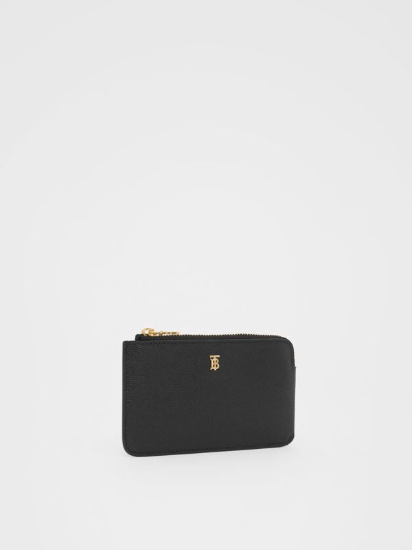 Monogram Motif Grainy Leather Zip Coin Case in Black - Women | Burberry - cell image 3