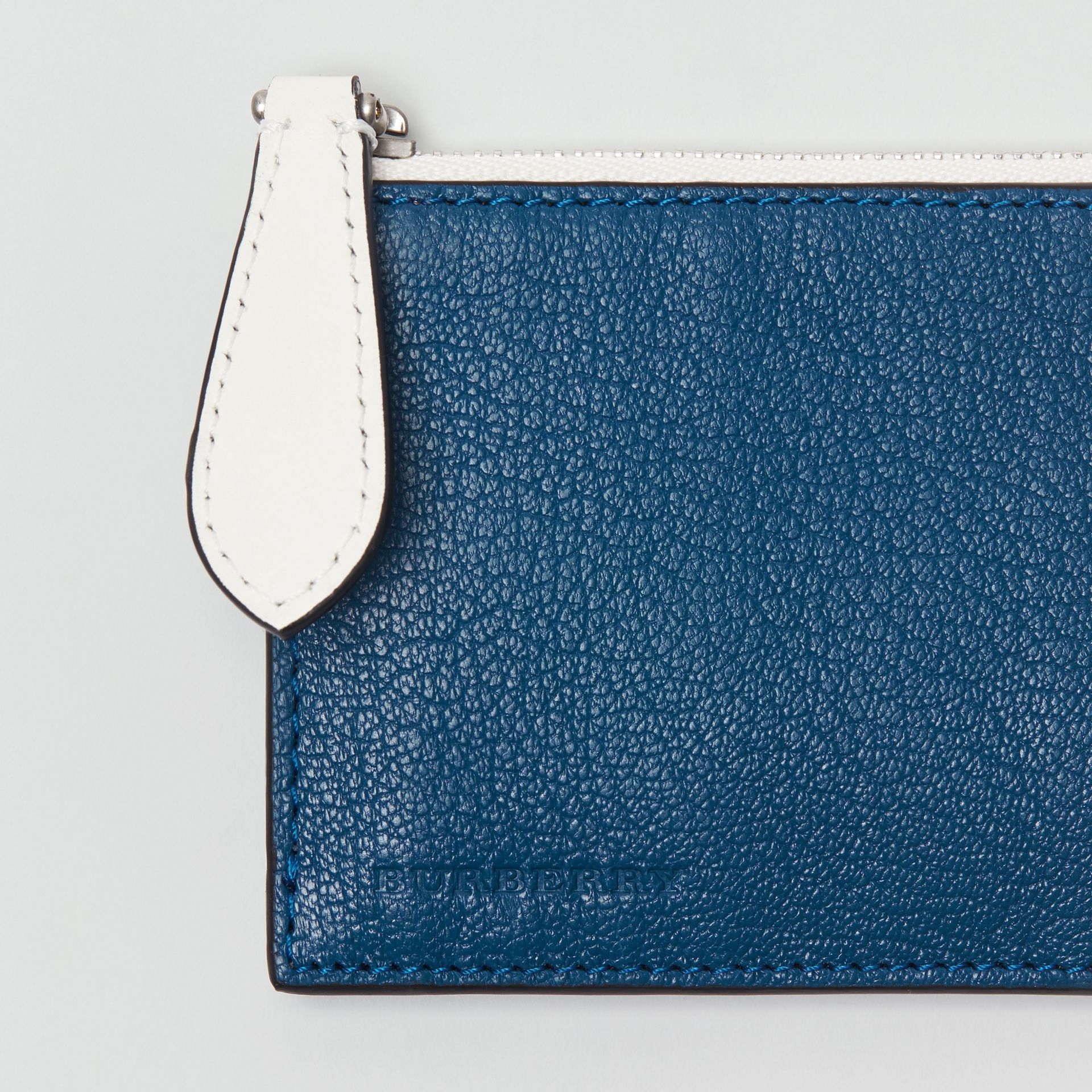 Two-tone Leather Zip Card Case in Peacock Blue | Burberry - gallery image 1