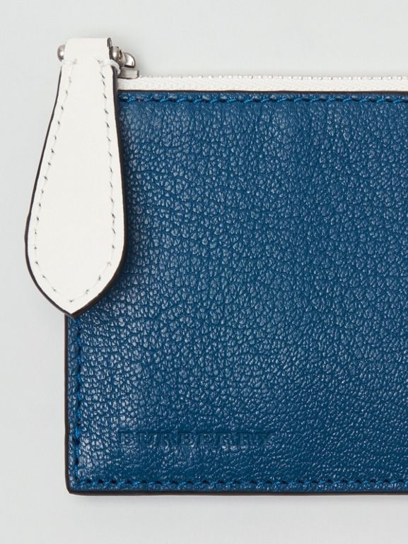 Two-tone Leather Zip Card Case in Peacock Blue | Burberry - cell image 1