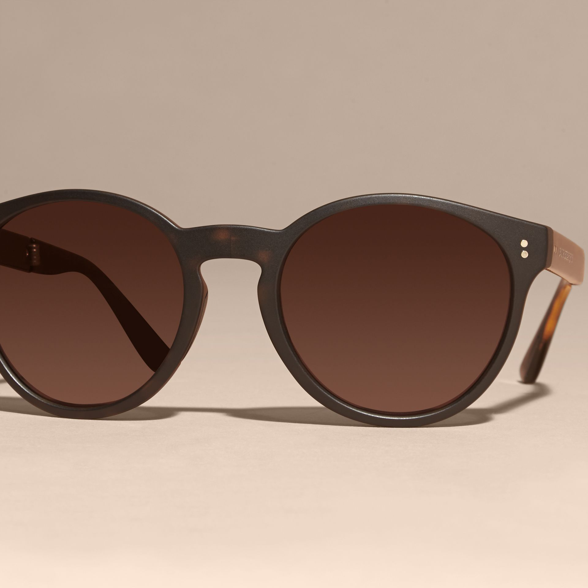 Folding Round Frame Sunglasses in Tortoise Shell - gallery image 3