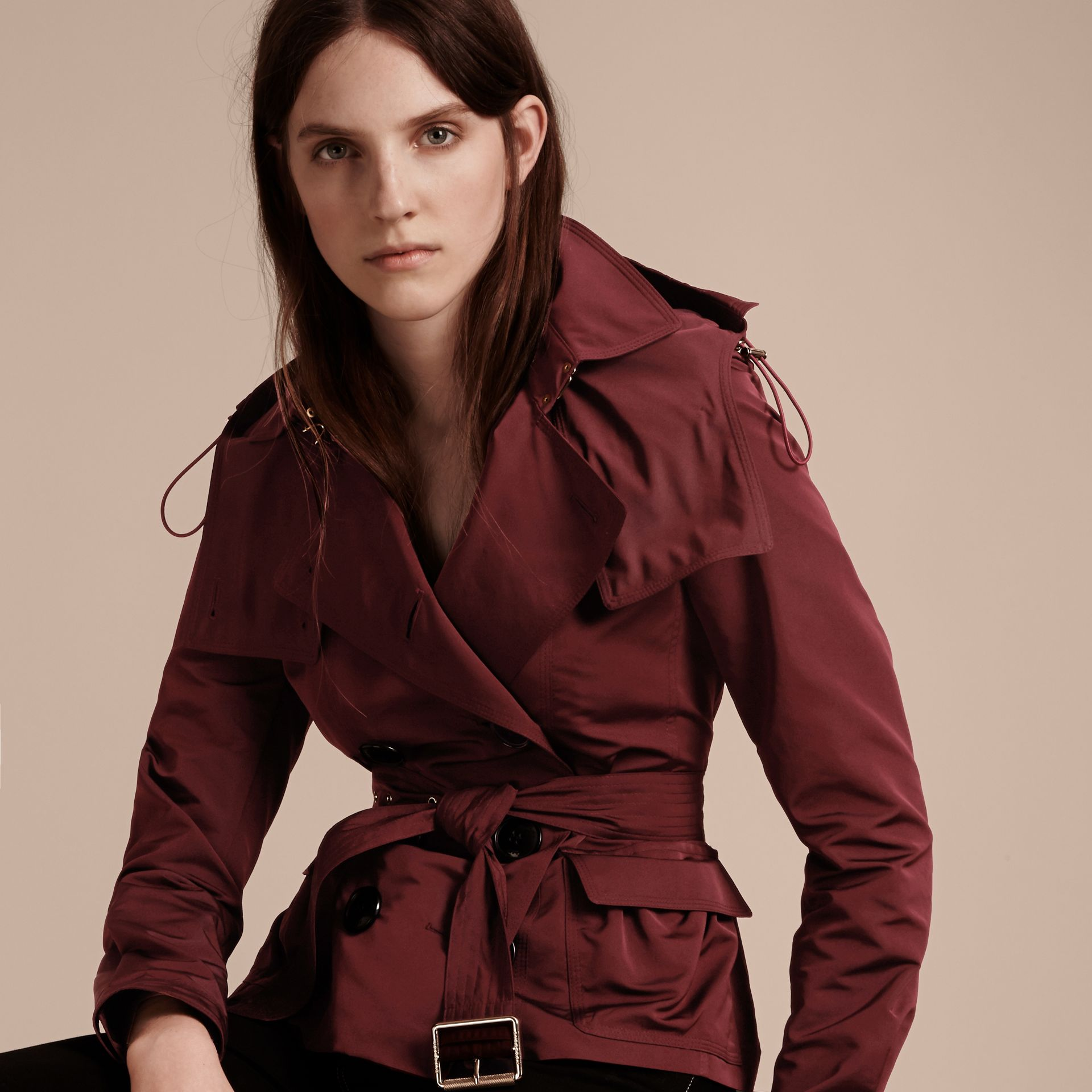 Deep claret Showerproof Taffeta Trench Jacket with Detachable Hood Deep Claret - gallery image 7