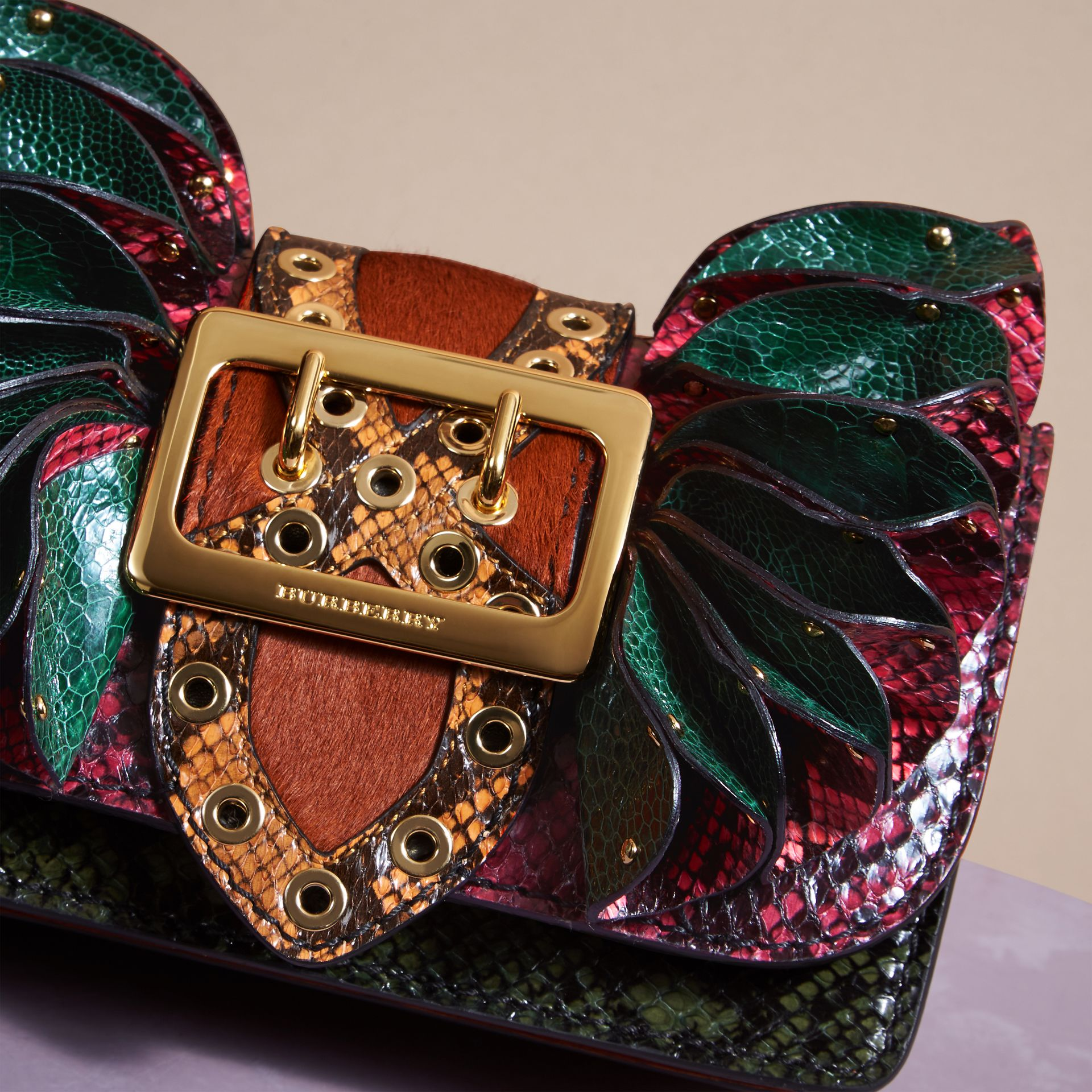 The Ruffle Buckle Bag in Snakeskin, Ostrich and Calfskin - gallery image 2