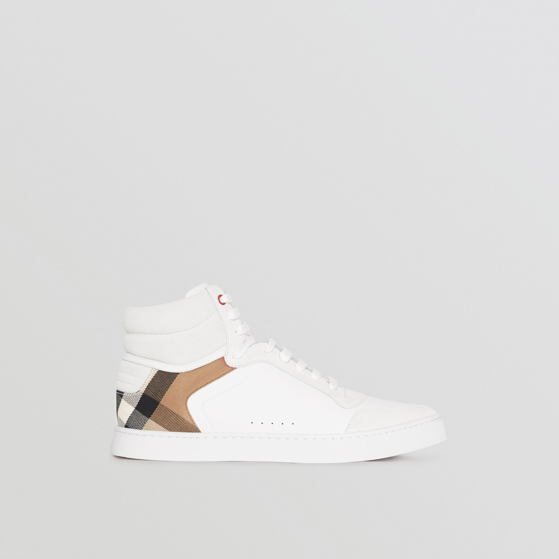 Leather and House Check High-top Sneakers in Optic White - Men | Burberry - gallery image 5