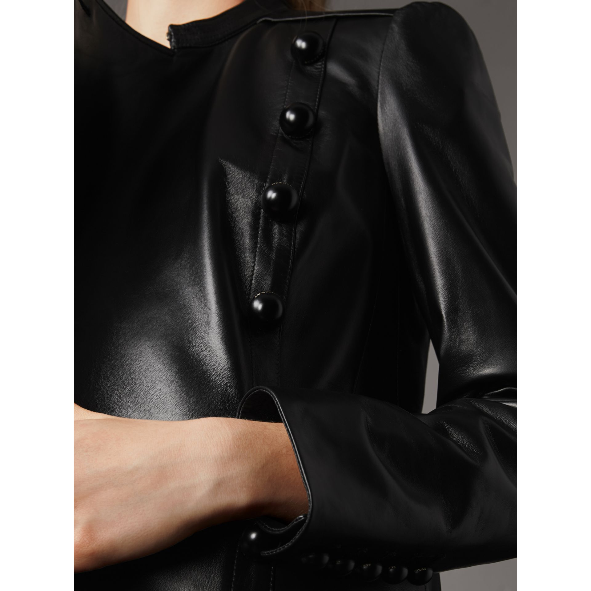 Lambskin Double-breasted Jacket in Black - Women | Burberry - gallery image 2