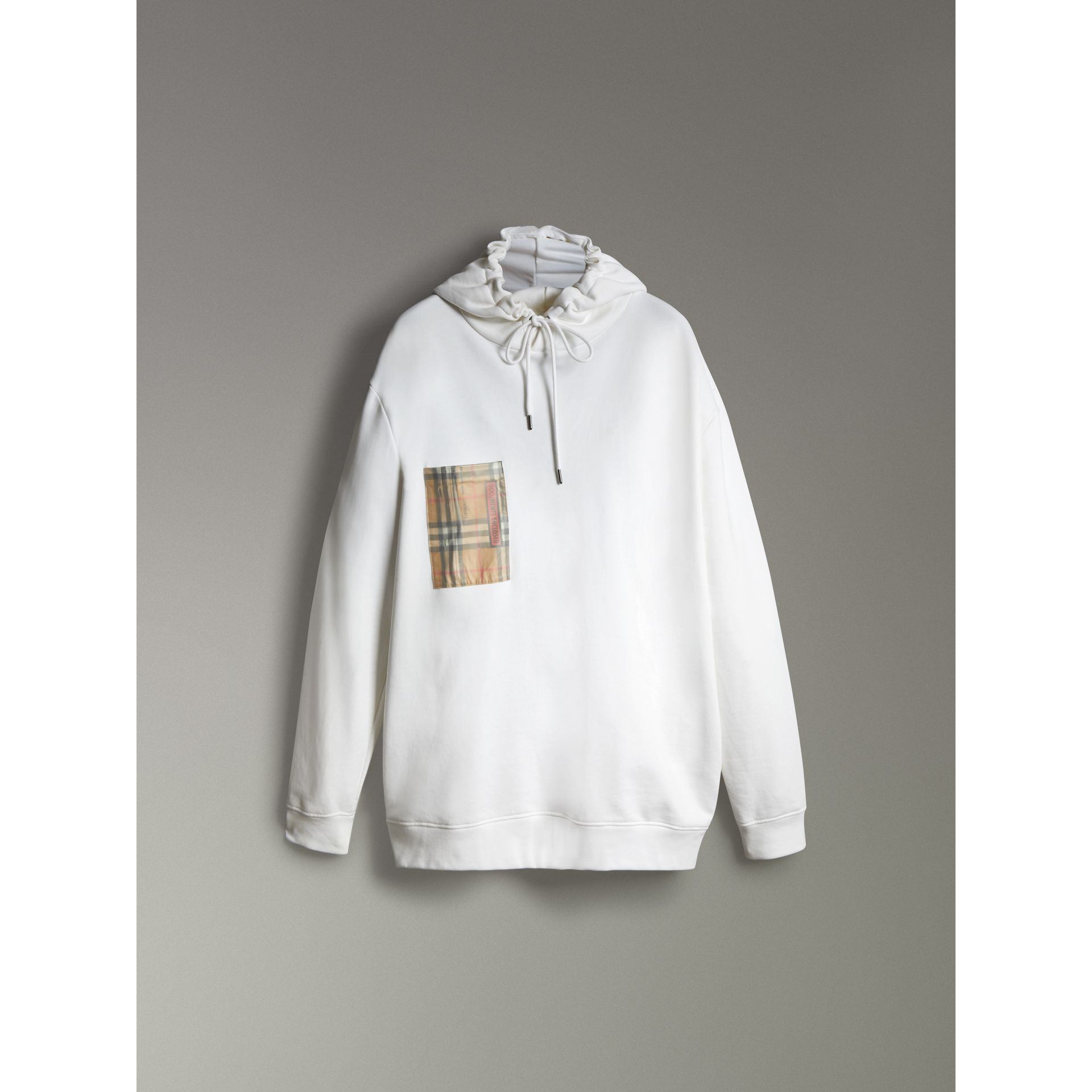 Ticket Print Pocket Cotton Jersey Hoodie in White - Men | Burberry United Kingdom - gallery image 3