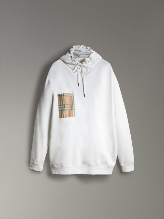 Ticket Print Pocket Cotton Jersey Hoodie in White - Men | Burberry - cell image 3