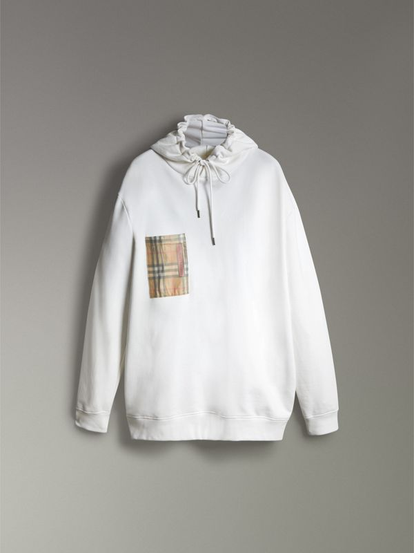 Ticket Print Pocket Cotton Jersey Hoodie in White - Men | Burberry United Kingdom - cell image 3