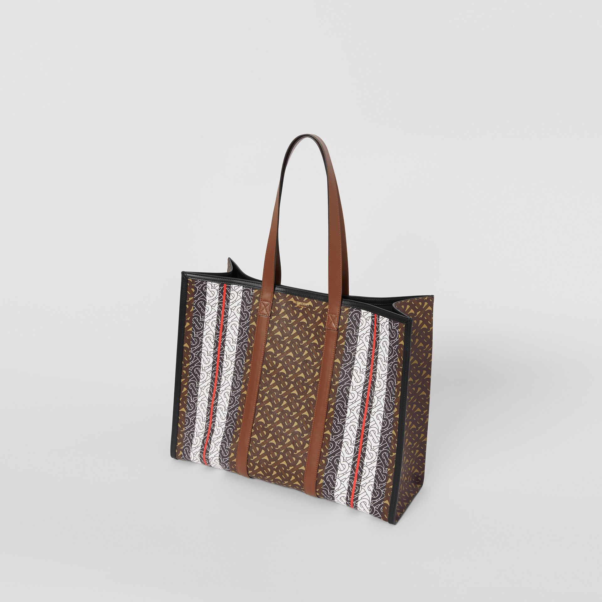 Small Monogram Stripe E-canvas Tote Bag in Bridle Brown - Women | Burberry - gallery image 4