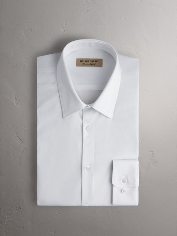 Slim Fit Stretch Cotton Shirt in White - Men | Burberry Australia - cell image 3