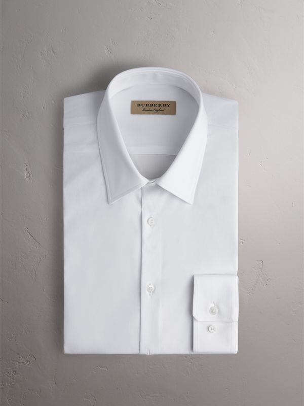 Slim Fit Stretch Cotton Shirt in White - Men | Burberry - cell image 3
