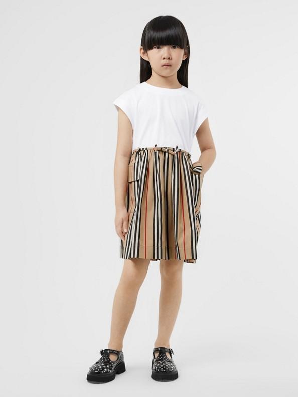 Icon Stripe Cotton Dress in Archive Beige