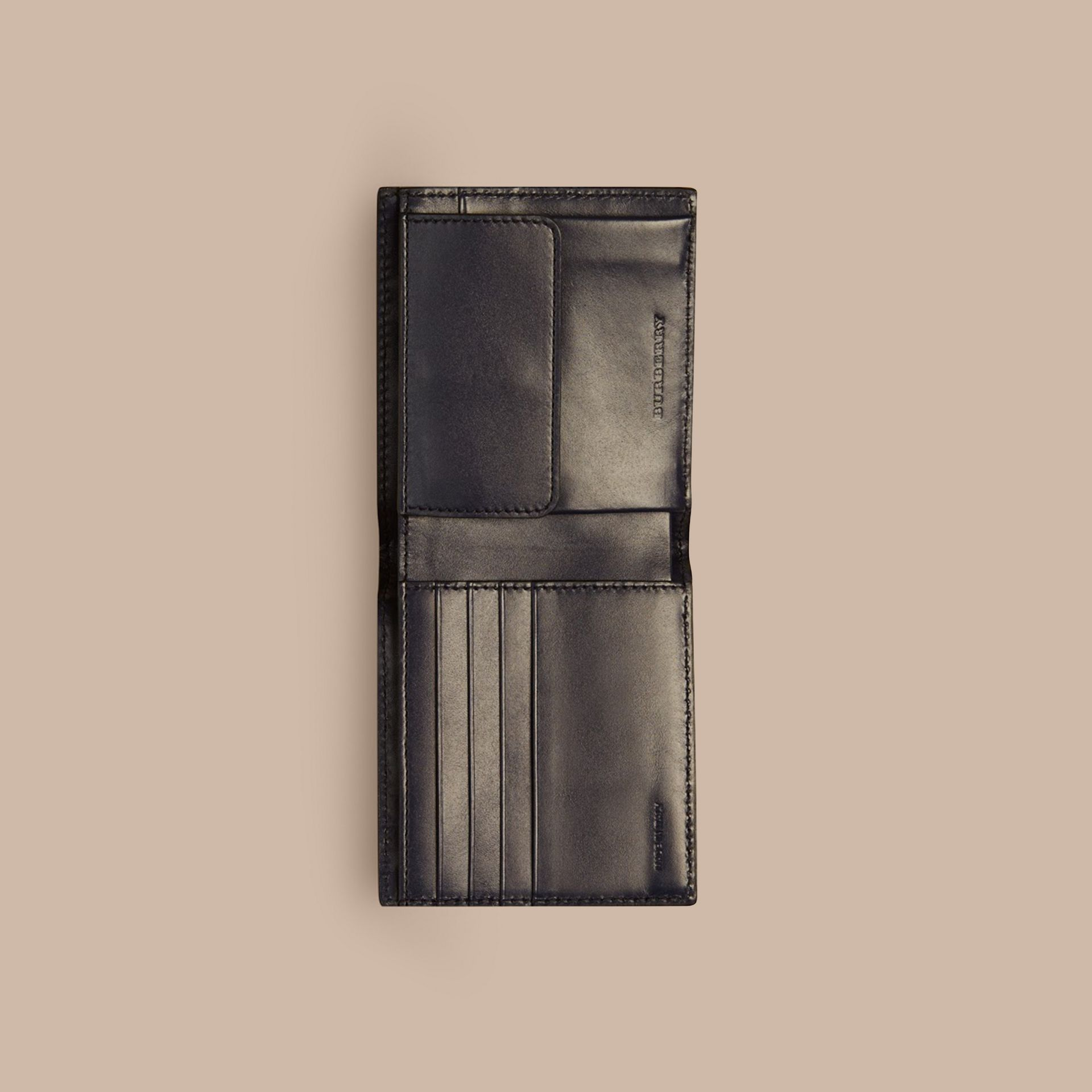 London Leather International Bifold Coin Wallet in Dark Navy - Men | Burberry - gallery image 3