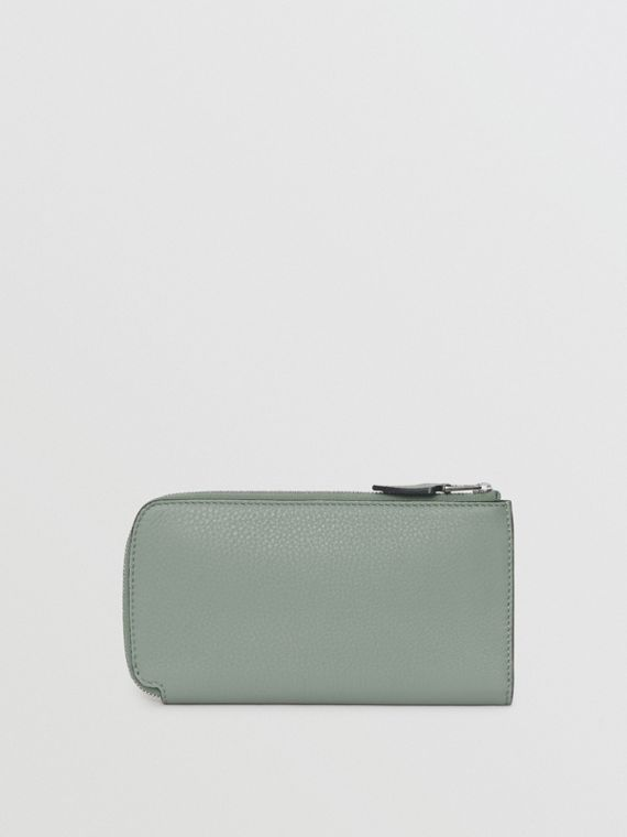 Two-tone Leather Ziparound Wallet and Coin Case in Grey Blue