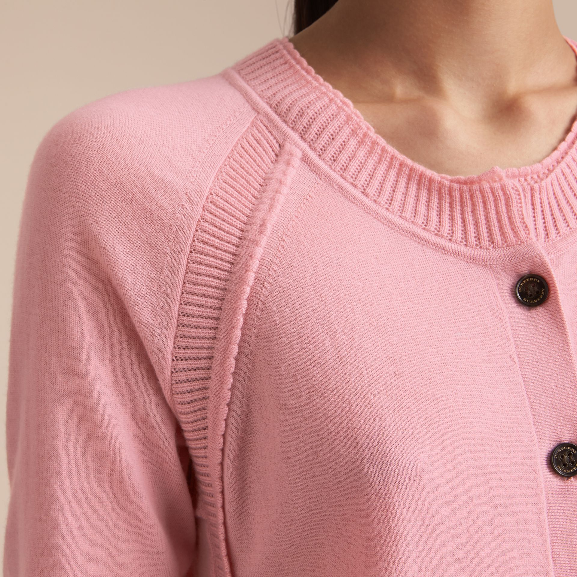 Open-knit Detail Cashmere Cardigan in Apricot Pink - Women | Burberry - gallery image 5