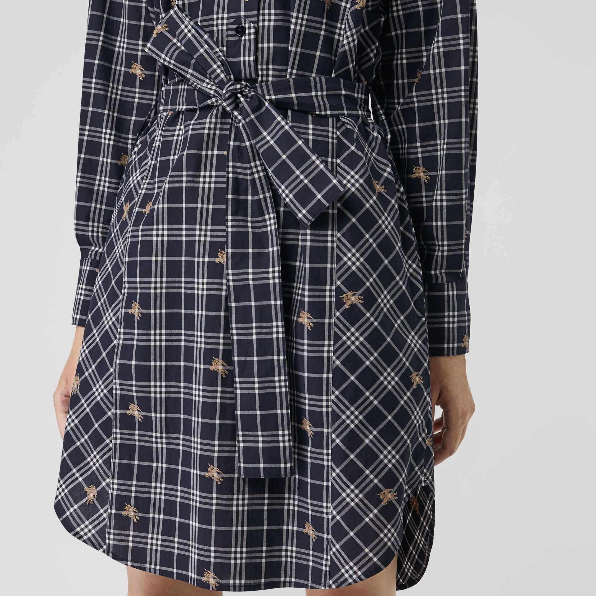 Equestrian Knight Check Tie-waist Shirt Dress in Navy - Women | Burberry - gallery image 4