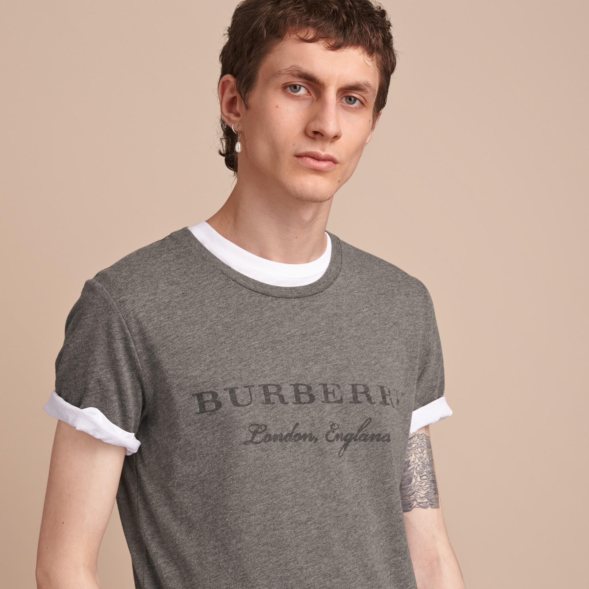 Contrast Motif Cotton Blend T-shirt Mid Grey Melange - gallery image 5