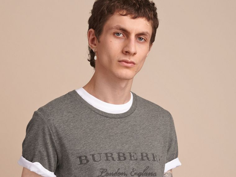 Contrast Motif Cotton Blend T-shirt Mid Grey Melange - cell image 4