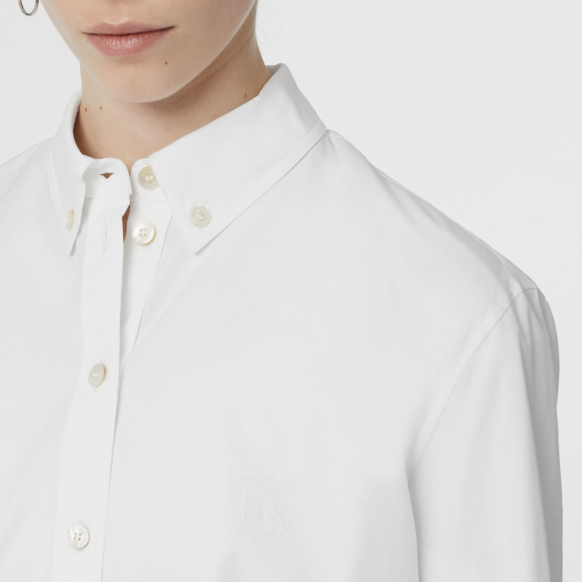 Button-down Collar Monogram Motif Cotton Shirt in White - Women | Burberry United Kingdom - gallery image 1