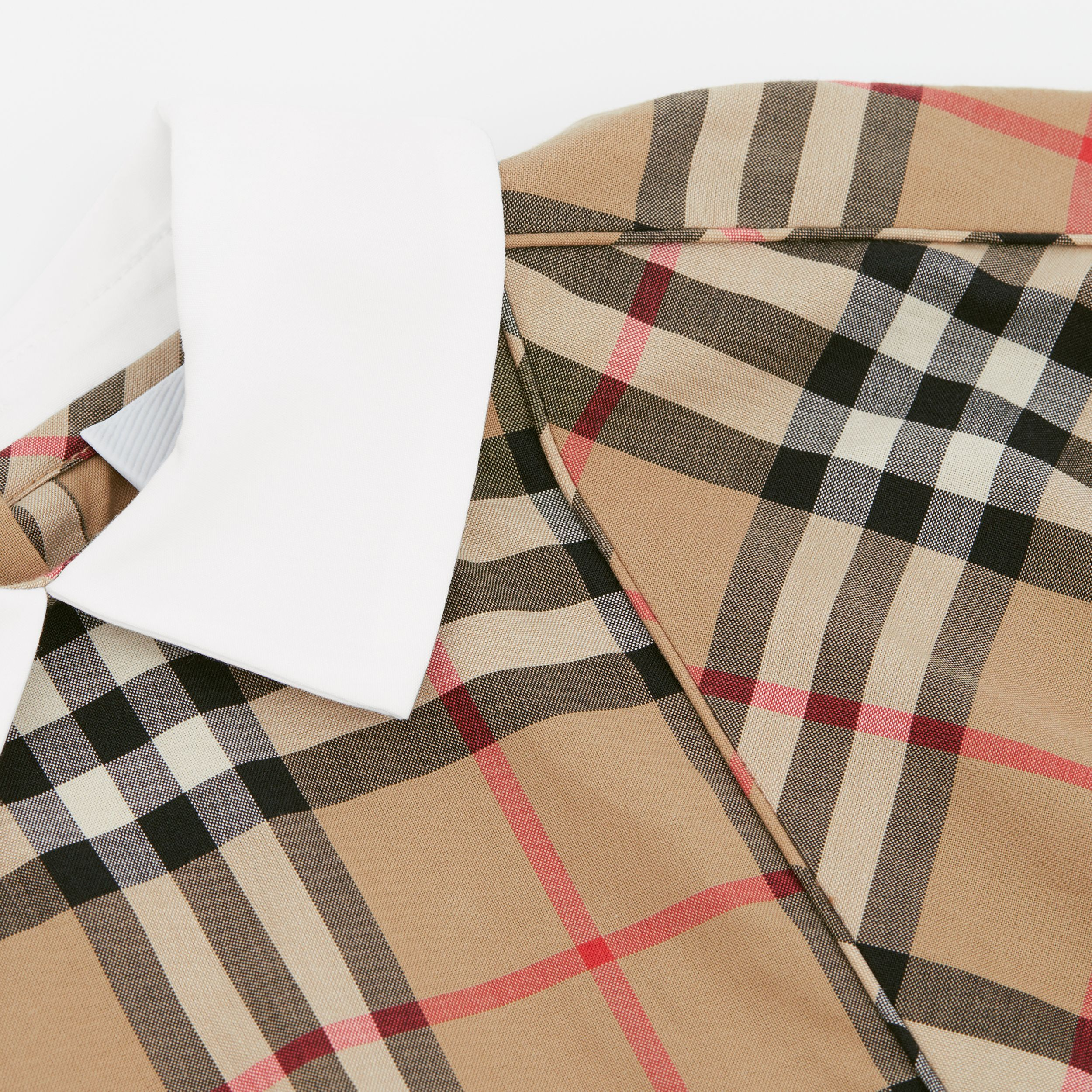 Contrast Collar Vintage Check Cotton Dress in Archive Beige - Children | Burberry United Kingdom - 2
