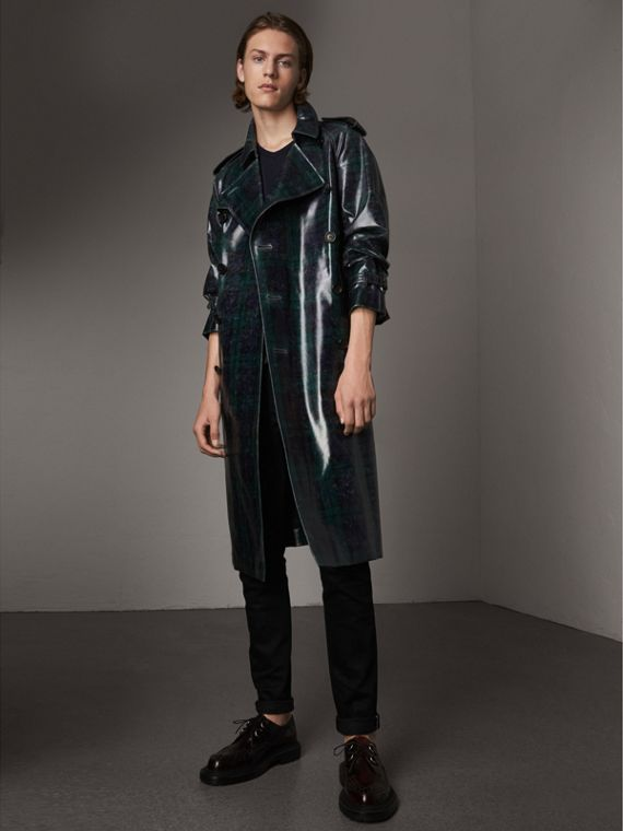 Trench coat in lana laminata con motivo tartan (Navy)