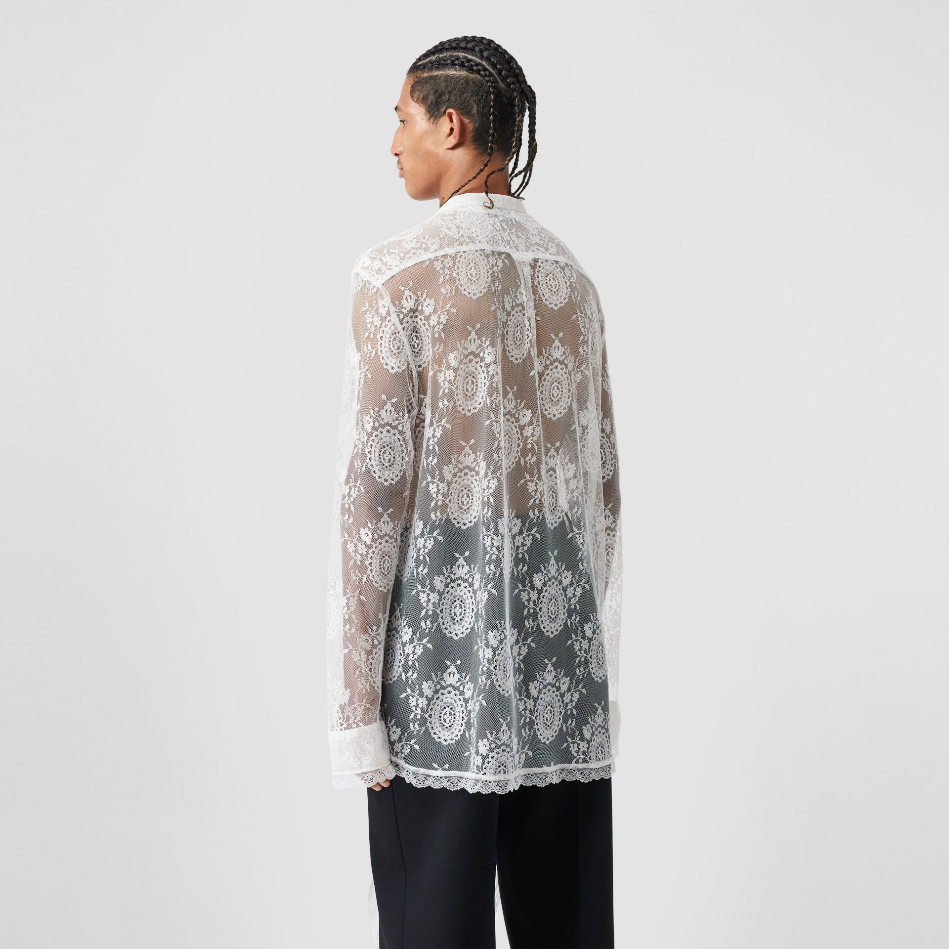 Chantilly Lace Oversized Tie-neck Shirt in Optic White | Burberry Australia - gallery image 2
