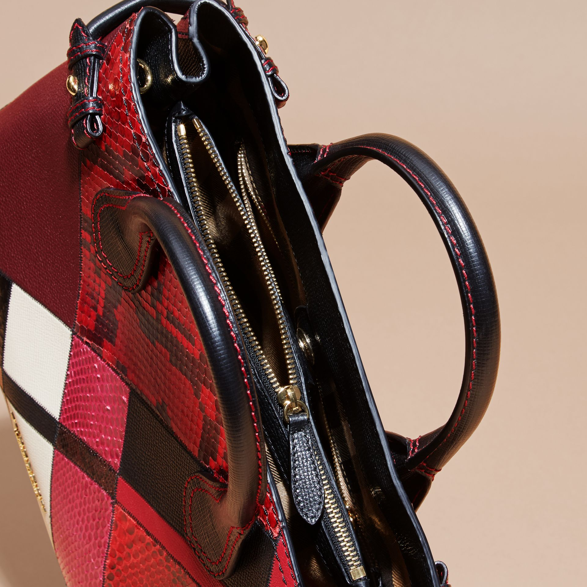 The Medium Banner in Patchwork Python and Leather in Pink - Women | Burberry United States - gallery image 6