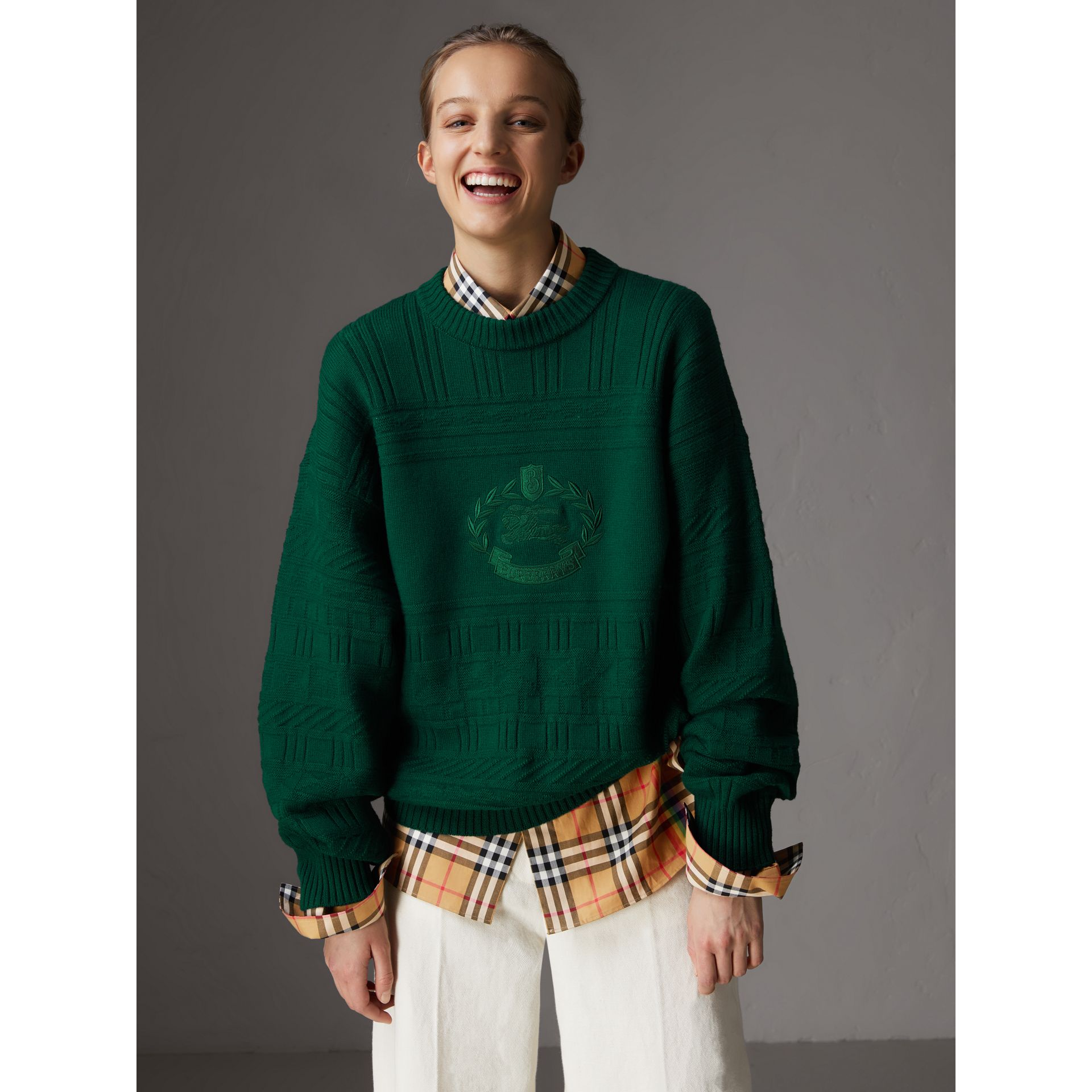 Reissued Wool Sweater in Dark Green - Women | Burberry Singapore - gallery image 5