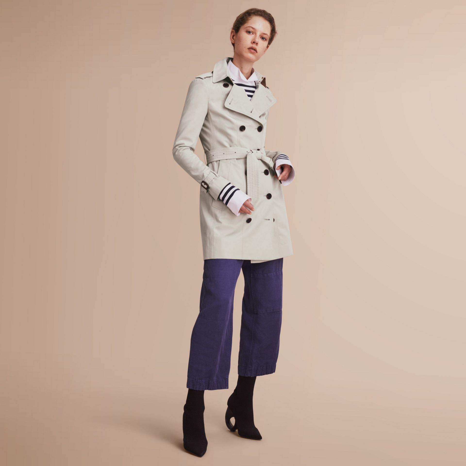 The Sandringham – Mid-Length Heritage Trench Coat in Stone - gallery image 1