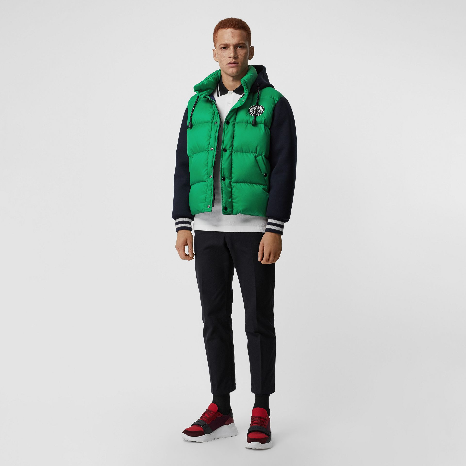 Neoprene Down-filled Hooded Jacket in Vibrant Green - Men | Burberry United States - gallery image 0