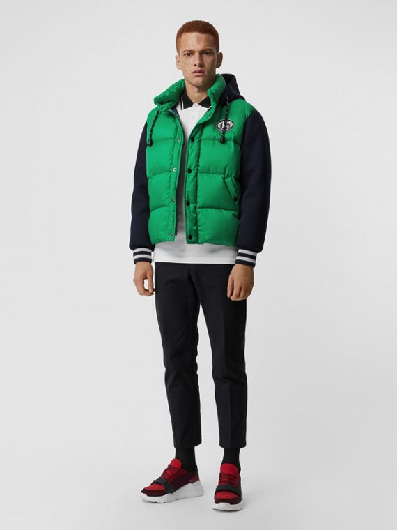 Neoprene Down-filled Hooded Jacket in Vibrant Green