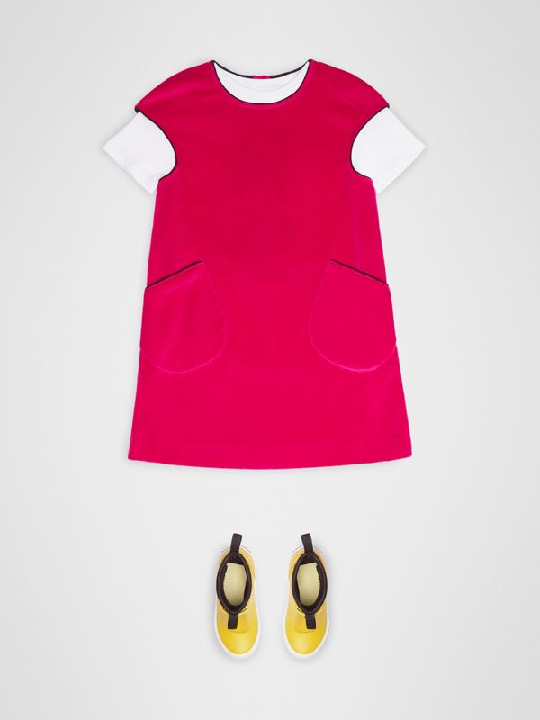 Piping Detail Velvet Shift Dress in Raspberry | Burberry United Kingdom - cell image 2