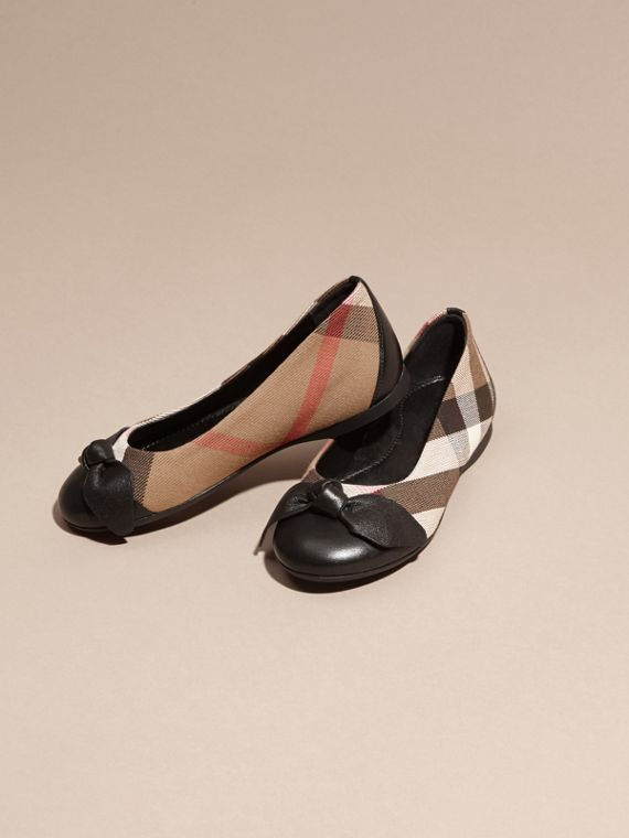 Leather and House Check Ballerinas in Black - Girl | Burberry - cell image 2