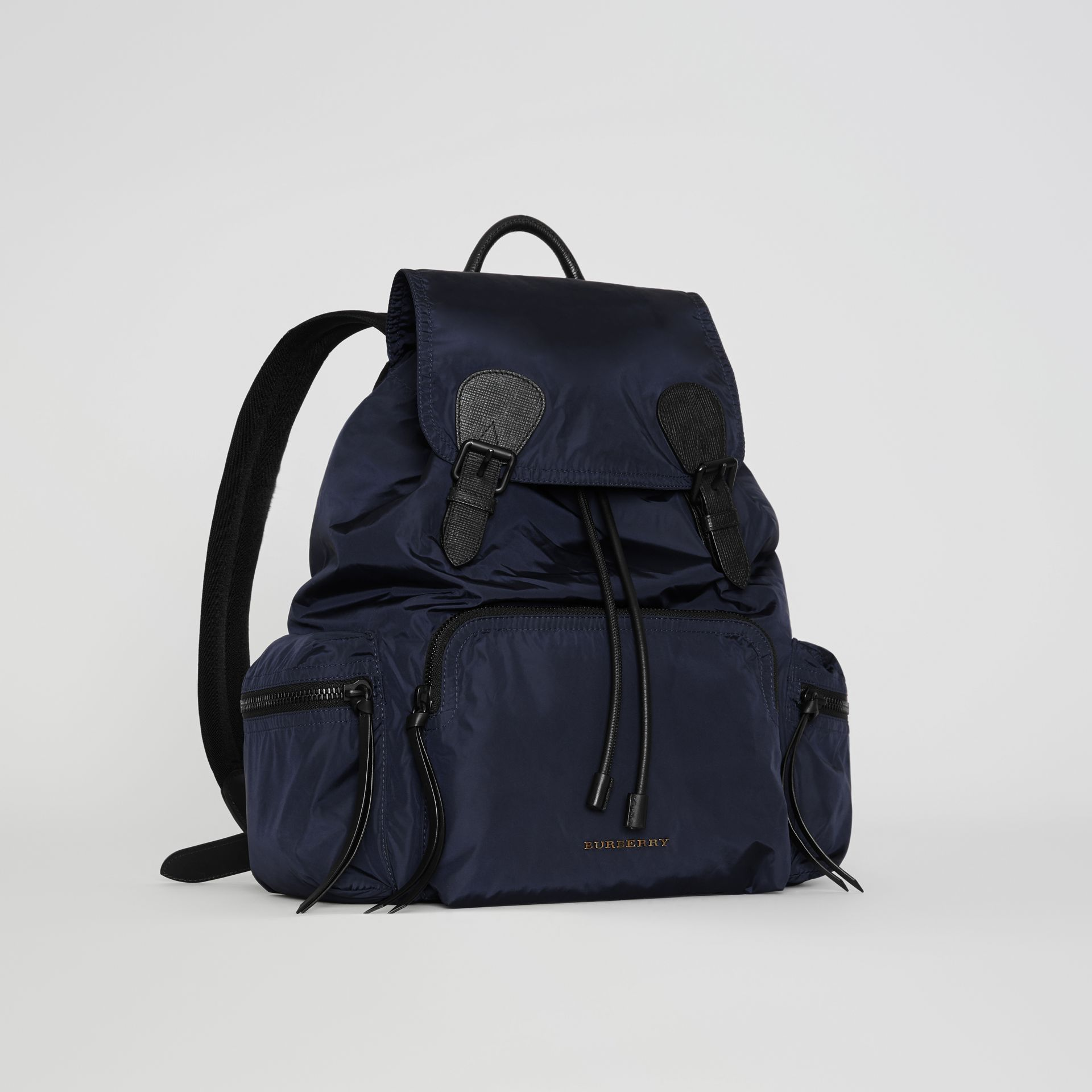 The Large Rucksack in Technical Nylon and Leather in Ink Blue - Men | Burberry United Kingdom - gallery image 6