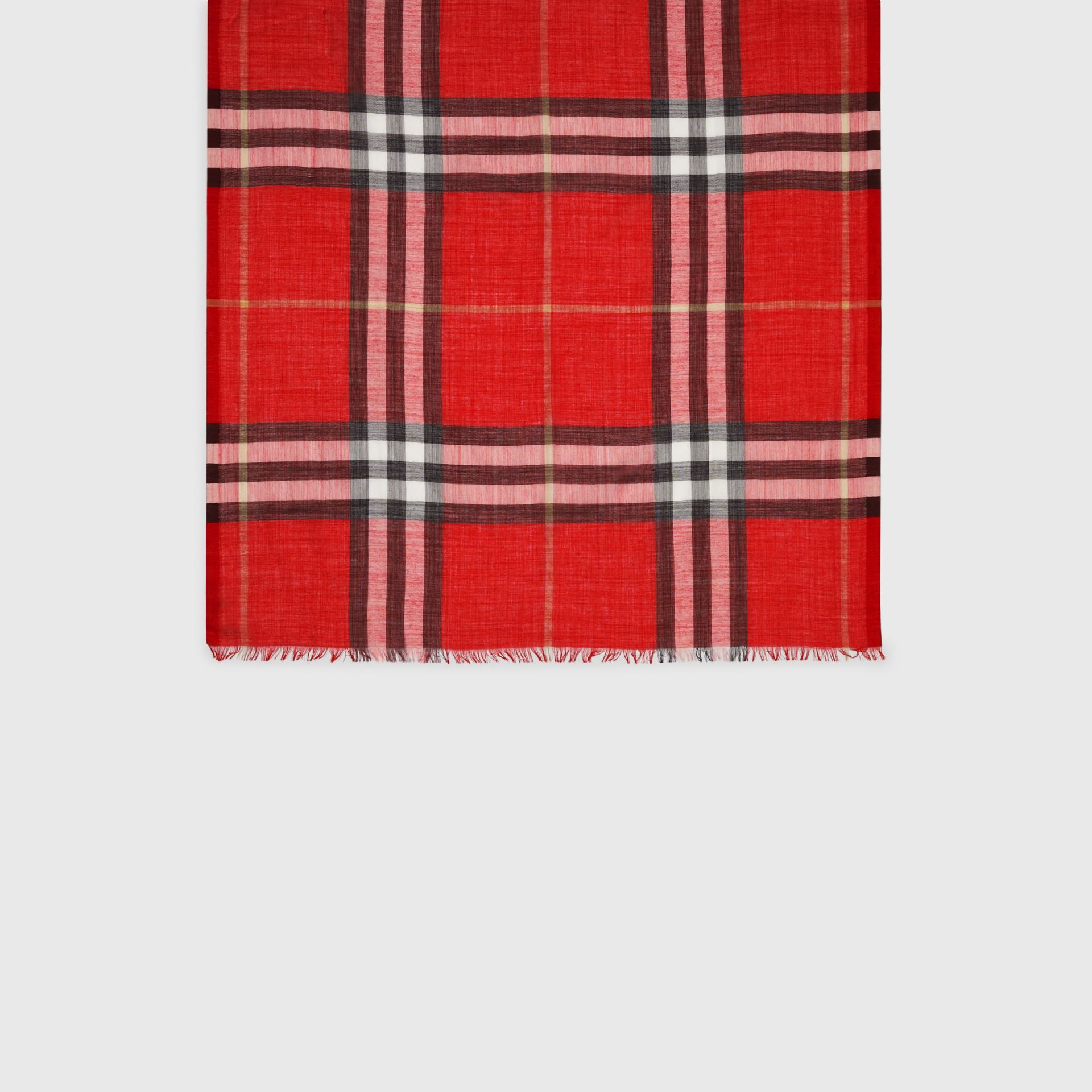 Lightweight Check Wool and Silk Scarf in Bright Military Red | Burberry Australia - gallery image 4