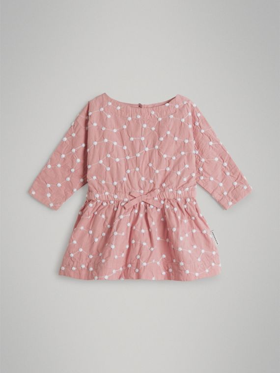 Coffret cadeau deux pièces pour bébé en coton brodé (Rose Platiné Pâle)