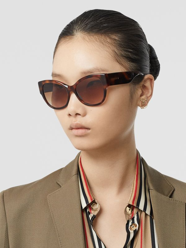 Butterfly Frame Sunglasses in Amber Tortoiseshell - Women | Burberry - cell image 2