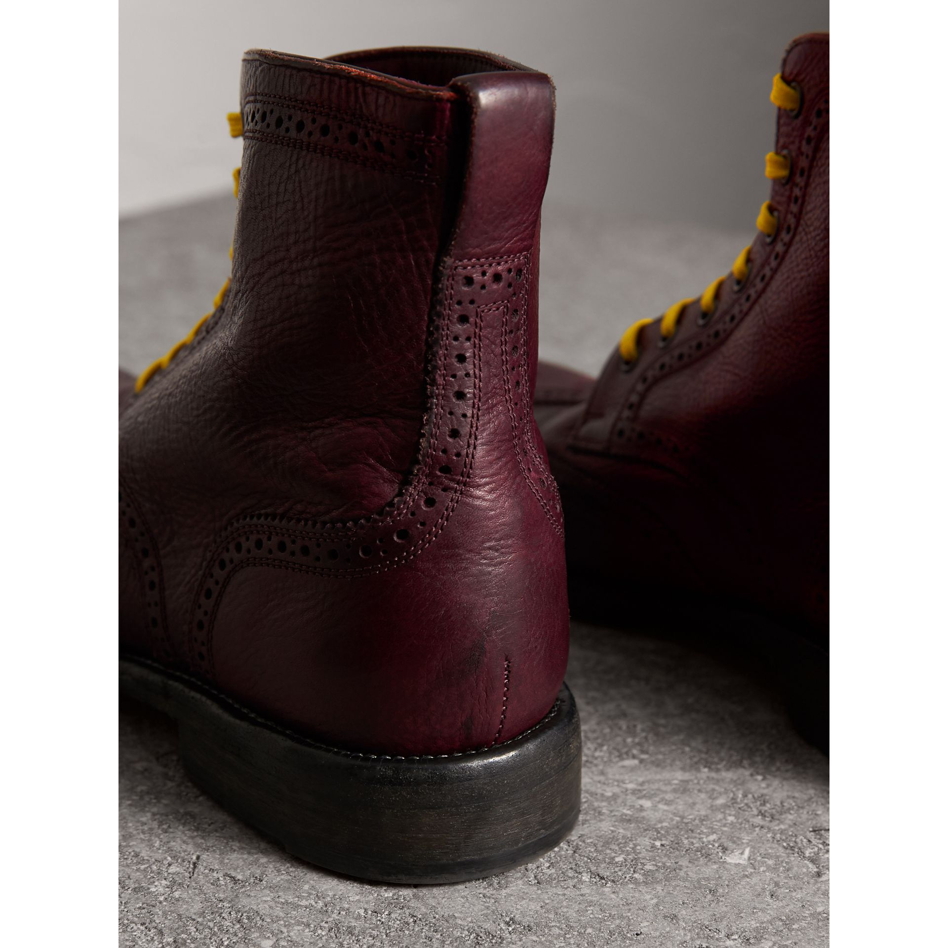 Leather Brogue Boots with Bright Laces in Cerise Purple - Men | Burberry Australia - gallery image 3