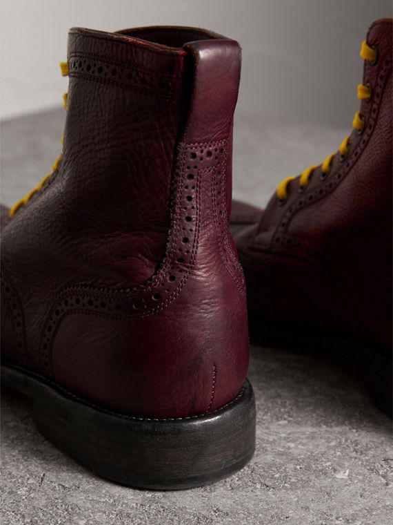 Leather Brogue Boots with Bright Laces in Cerise Purple - Men | Burberry - cell image 3