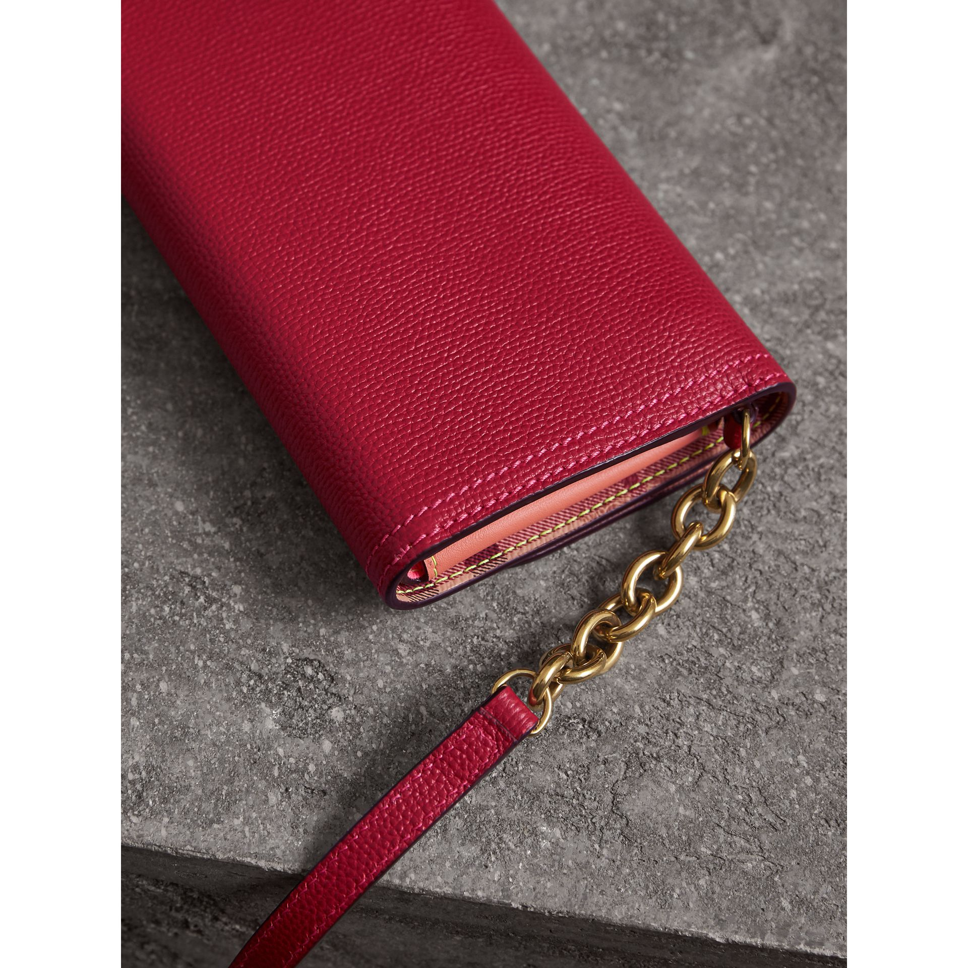 Topstitch Detail Leather Wallet with Detachable Strap in Parade Red/multicolour - Women | Burberry - gallery image 3