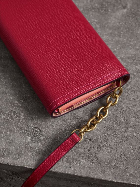 Topstitch Detail Leather Wallet with Detachable Strap in Parade Red/multicolour - Women | Burberry - cell image 3