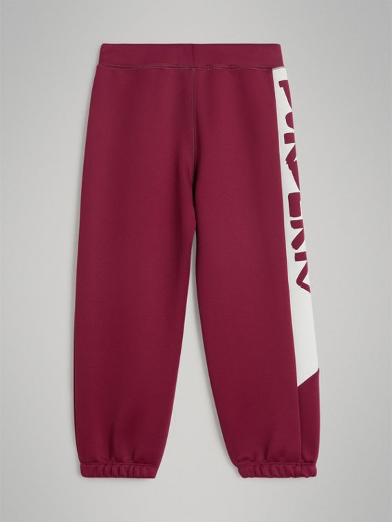 Graffiti Print Jersey Sweatpants in Burgundy - Boy | Burberry - cell image 2