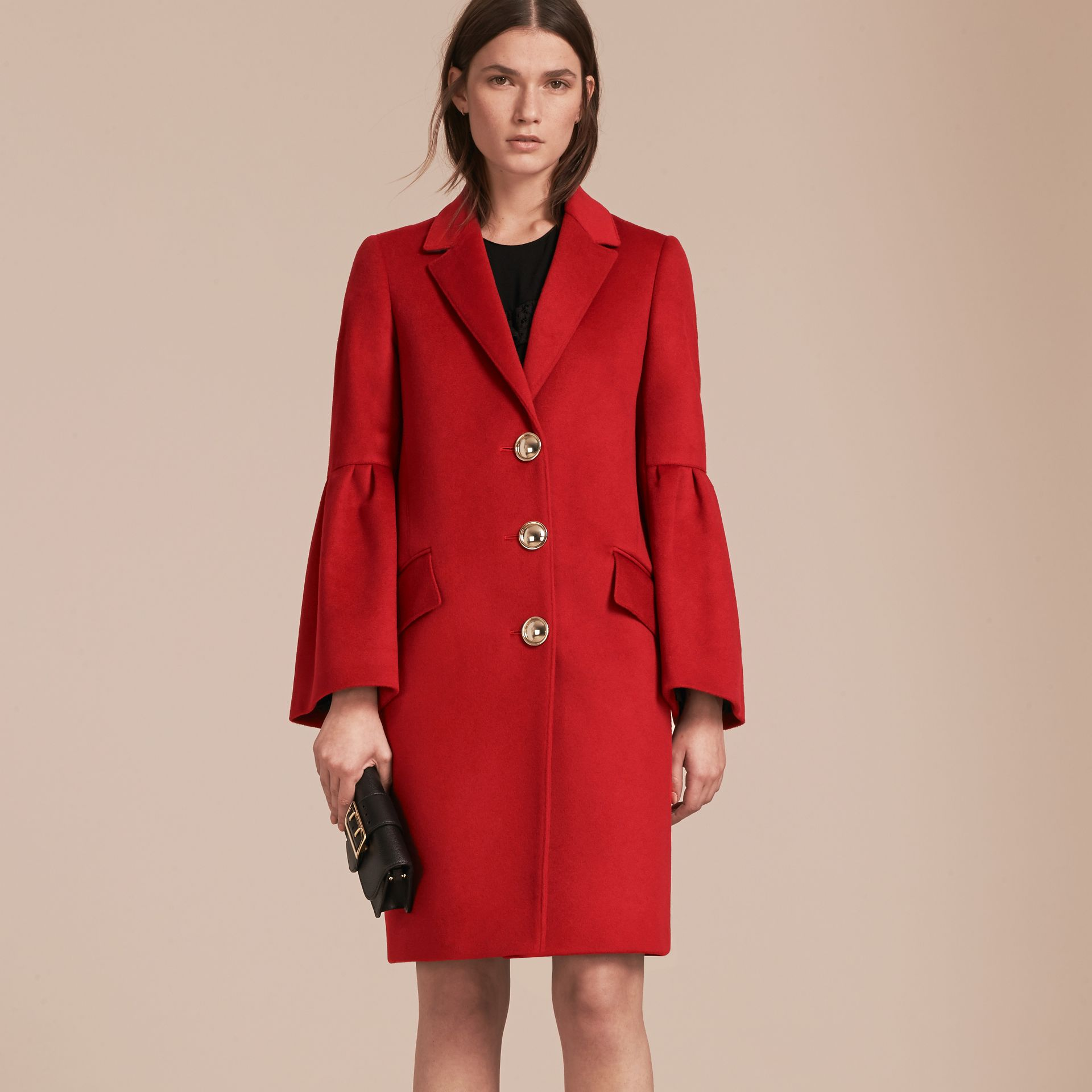 Parade red Tailored Wool Cashmere Coat with Bell Sleeves Parade - gallery image 7